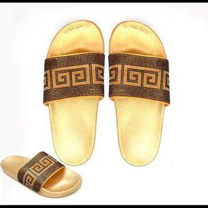Shoes - Gold Greek Design Rhinestone Slippers